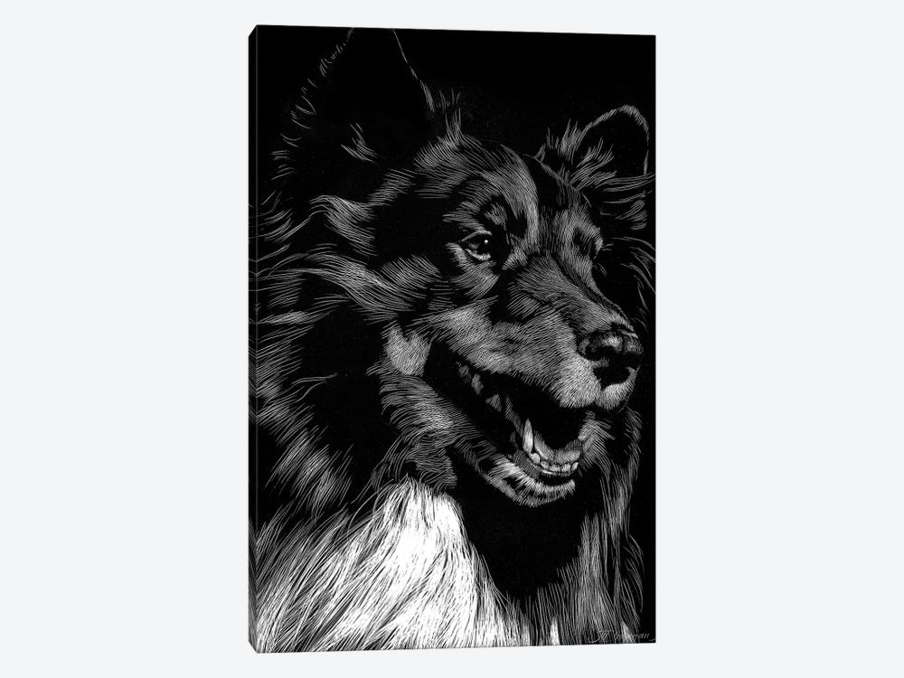 Canine Scratchboard X by Julie T. Chapman 1-piece Canvas Art
