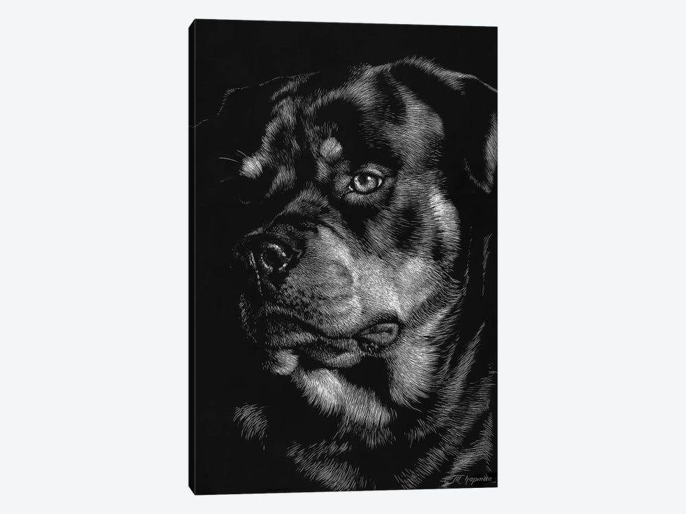 Canine Scratchboard XII by Julie T. Chapman 1-piece Art Print