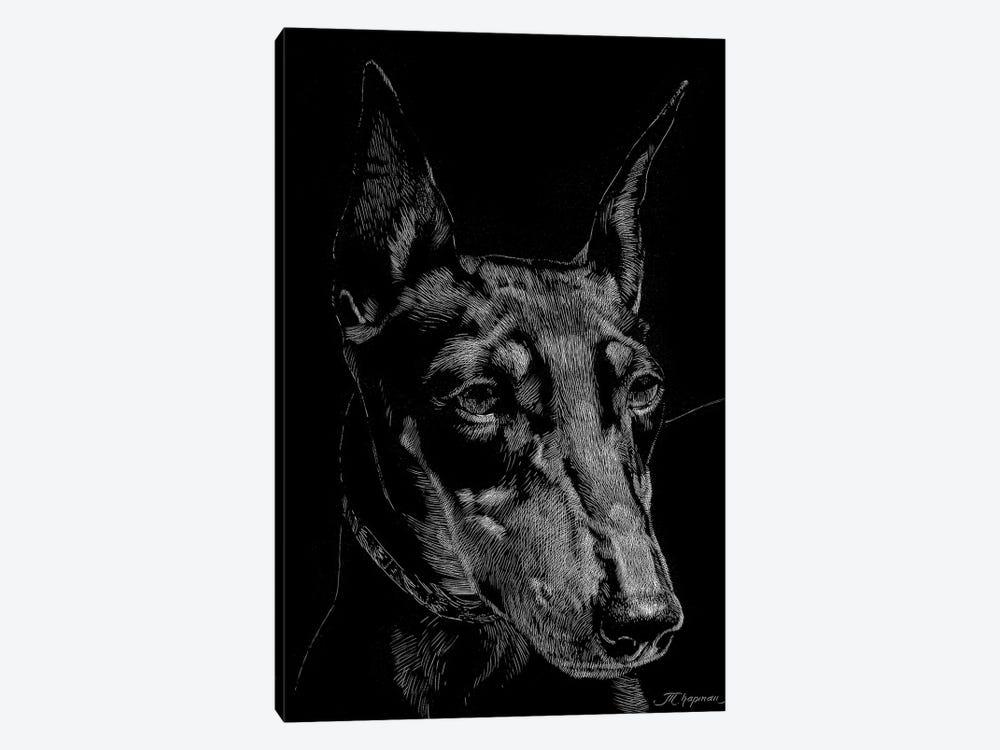 Canine Scratchboard XIII by Julie T. Chapman 1-piece Canvas Art