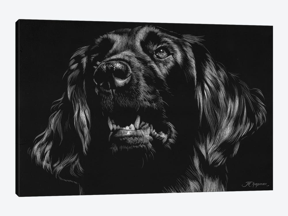 Canine Scratchboard XV by Julie T. Chapman 1-piece Canvas Art