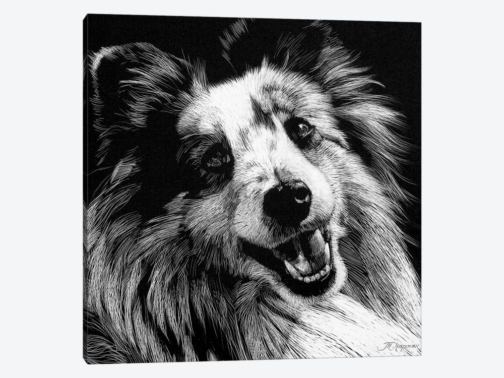Canine Scratchboard XXVI by Julie T. Chapman 1-piece Canvas Art
