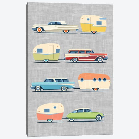 Vintage Cars And Campers I Canvas Print #JTD11} by James Theodore Canvas Print