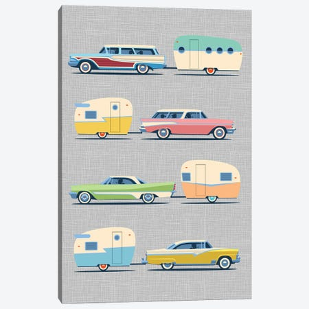 Vintage Cars And Campers II Canvas Print #JTD12} by James Theodore Art Print