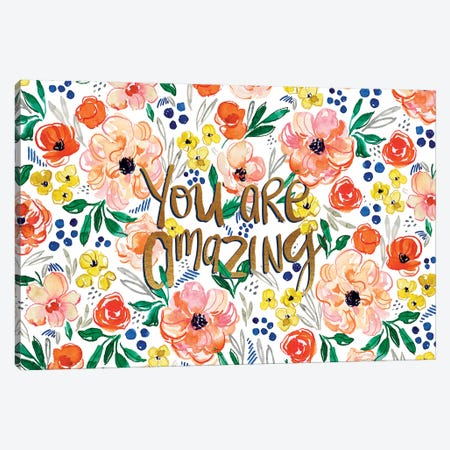 Peachy Florals I Canvas Print #JTG18} by Joy Ting Canvas Artwork