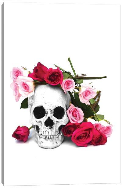 Skull & Pink & Red Roses Black & White Canvas Art Print
