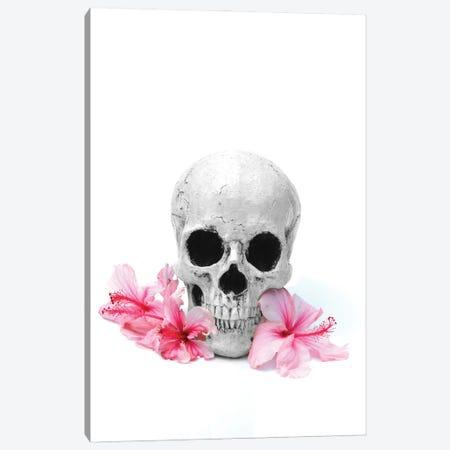 Skull & Pink Hibiscus Black & White Canvas Print #JTN107} by Jonathan Brooks Canvas Artwork