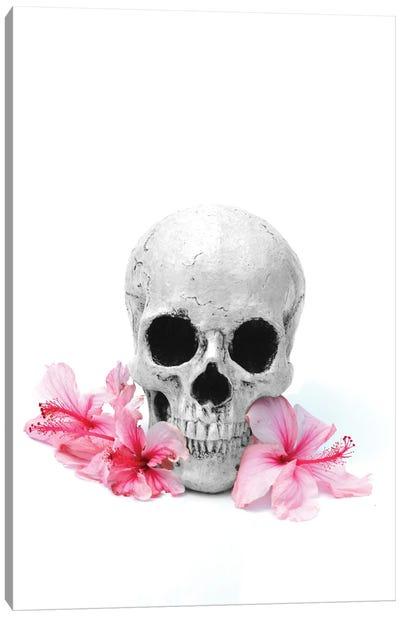 Skull & Pink Hibiscus Black & White Canvas Art Print