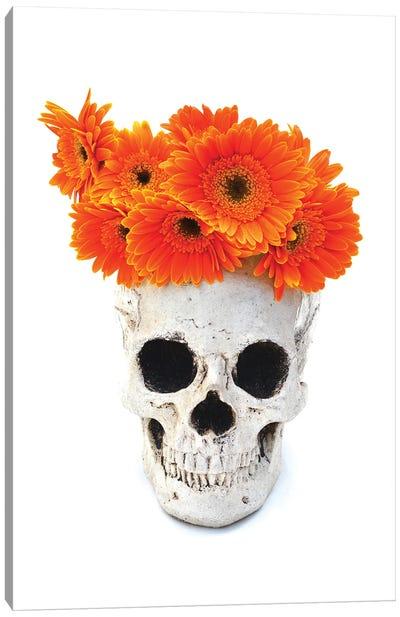 Skull & Orange Flowers Canvas Art Print