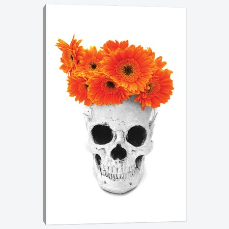 Skull & Orange Flowers Black & White Canvas Print #JTN111} by Jonathan Brooks Canvas Artwork