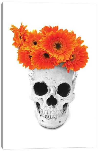 Skull & Orange Flowers Black & White Canvas Art Print