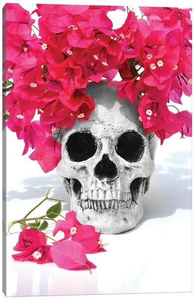 Skull & Bougainvillea Black & White Canvas Art Print