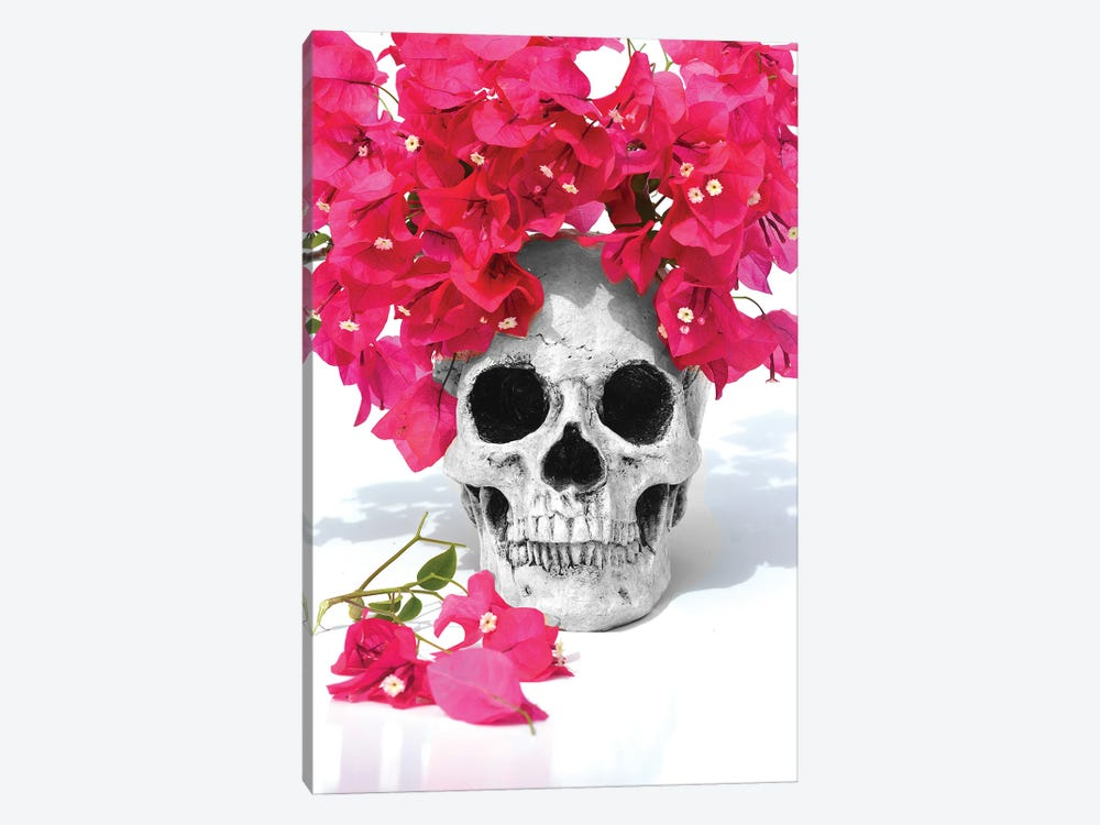 Skull & Bougainvillea Black & White by Jonathan Brooks 1-piece Art Print