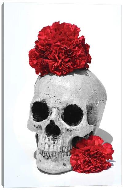 Skull & Carnations Black & White Canvas Art Print