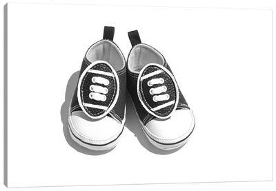 Baby Boy Shoes Black & White Canvas Art Print