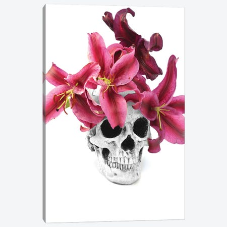 Skull & Lilies Black & White Canvas Print #JTN41} by Jonathan Brooks Canvas Artwork
