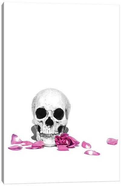 Skull & Purple Rose Black & White Canvas Art Print