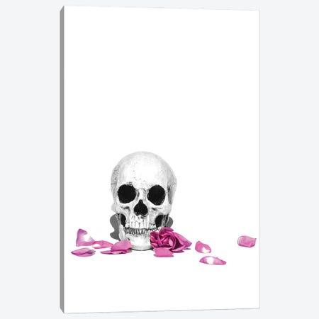 Skull & Purple Rose Black & White Canvas Print #JTN50} by Jonathan Brooks Canvas Print
