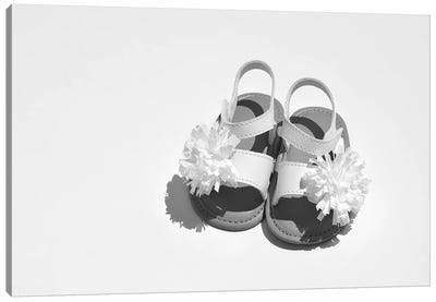 Baby Girl Sandals Black & White Canvas Art Print