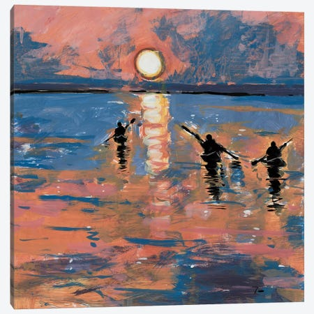 Sunset Kayaking Canvas Print #JTR34} by Jose Trujillo Canvas Art