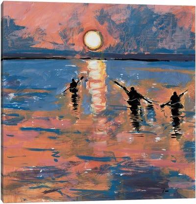 Sunset Kayaking Canvas Art Print