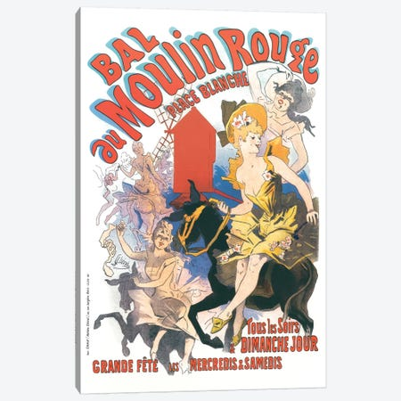 Bal du Moulin Rouge, Place Blanche Advertisement, 1889 Canvas Print #JUC1} by Jules Cheret Canvas Art Print