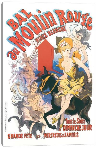 Bal du Moulin Rouge, Place Blanche Advertisement, 1889 Canvas Art Print