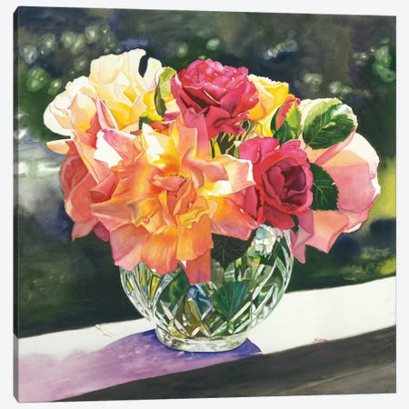 Rose Bowl Canvas Print #JUD19} by Judy Koenig Canvas Art