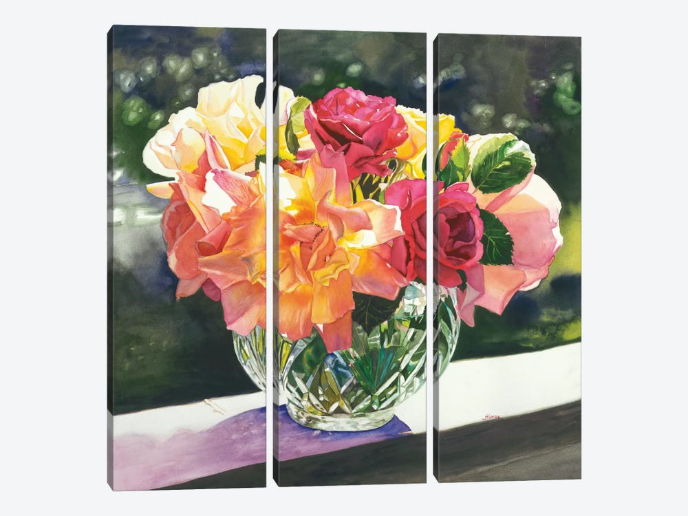 Rose Bowl by Judy Koenig 3-piece Canvas Wall Art