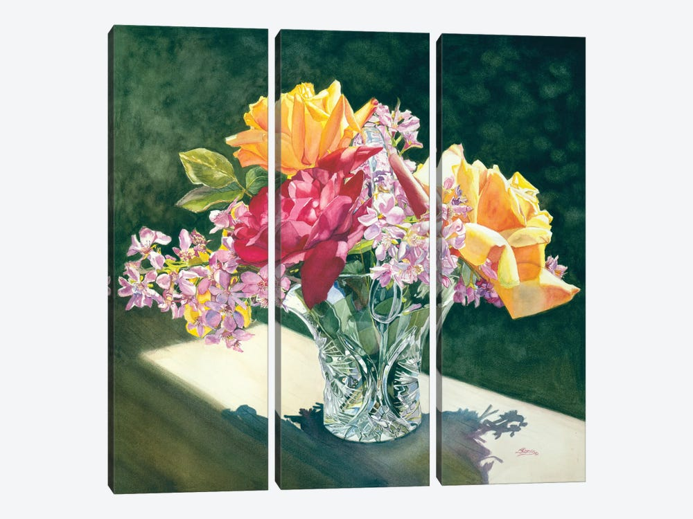 Roses In Crystal by Judy Koenig 3-piece Canvas Art Print