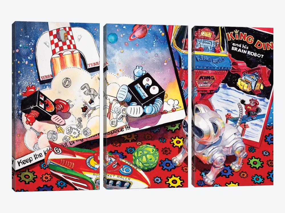 Blast off by Judy Koenig 3-piece Canvas Art Print
