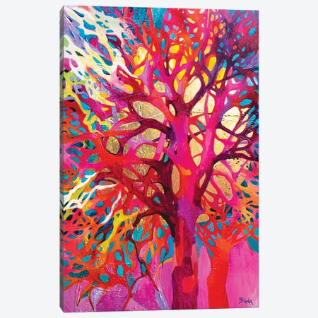 Singing Trees Pink Canvas Print #JUH127} by Julia Hacker Canvas Art