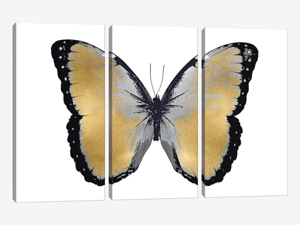 Butterfly In Metallic I by Julia Bosco 3-piece Canvas Wall Art