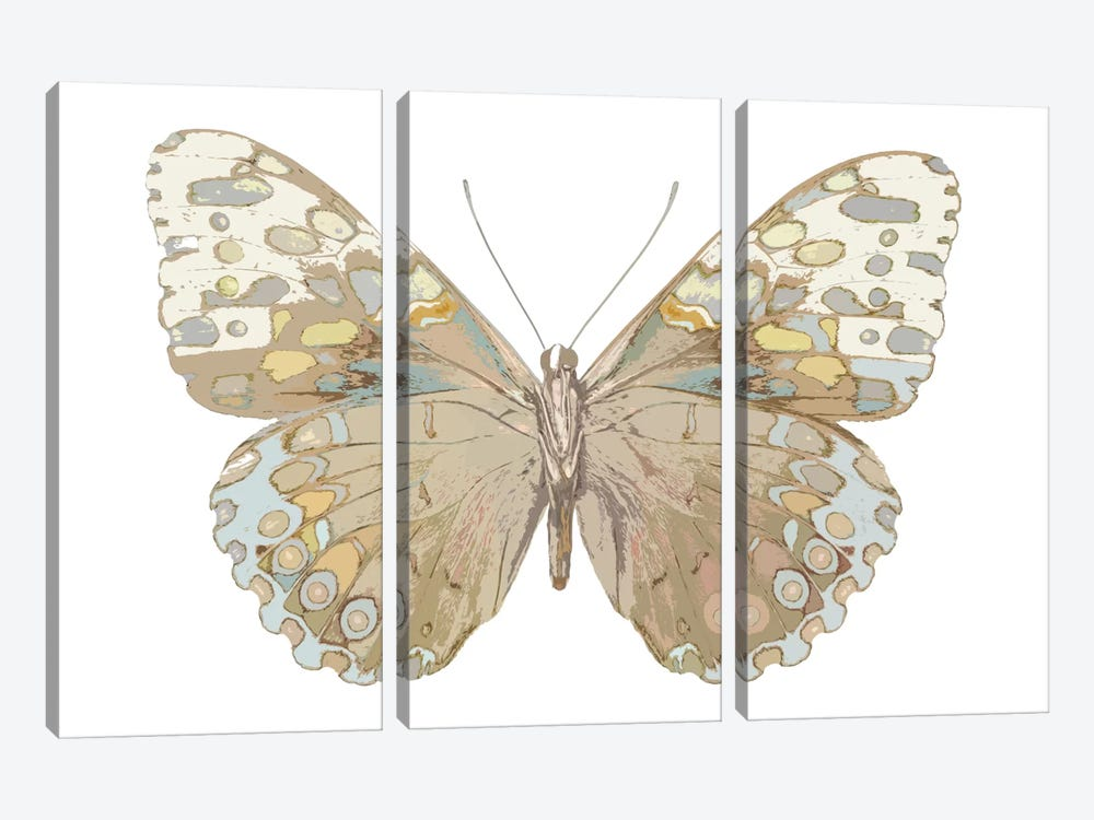 Butterfly In Taupe And Blue by Julia Bosco 3-piece Canvas Art