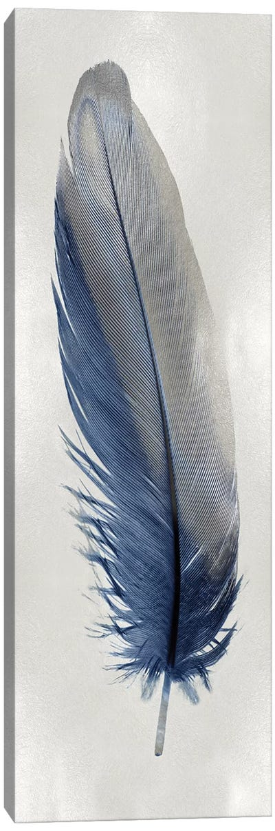 Blue Feather On Silver I Canvas Art Print