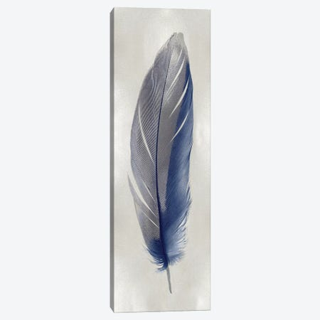 Blue Feather On Silver II Canvas Print #JUL54} by Julia Bosco Canvas Print