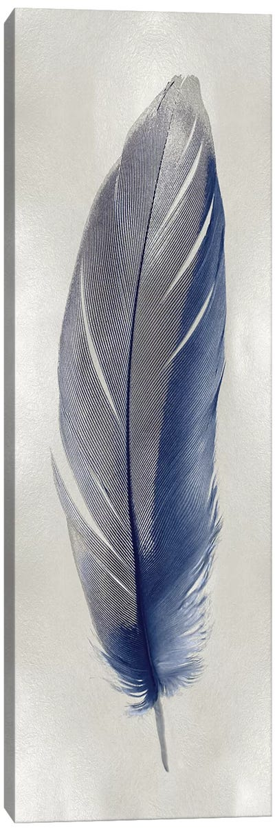 Blue Feather On Silver II Canvas Art Print
