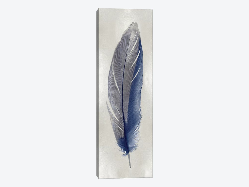 Blue Feather On Silver II 1-piece Canvas Wall Art