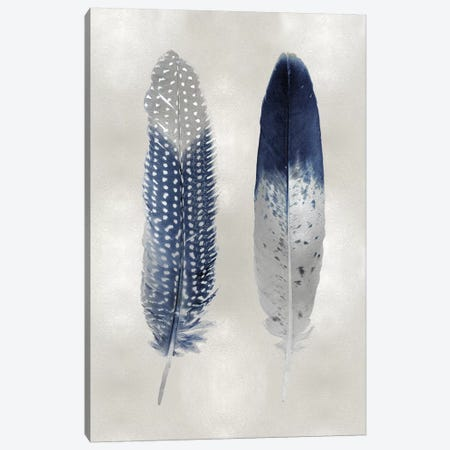 Blue Feather Pair On Silver Canvas Print #JUL55} by Julia Bosco Canvas Print