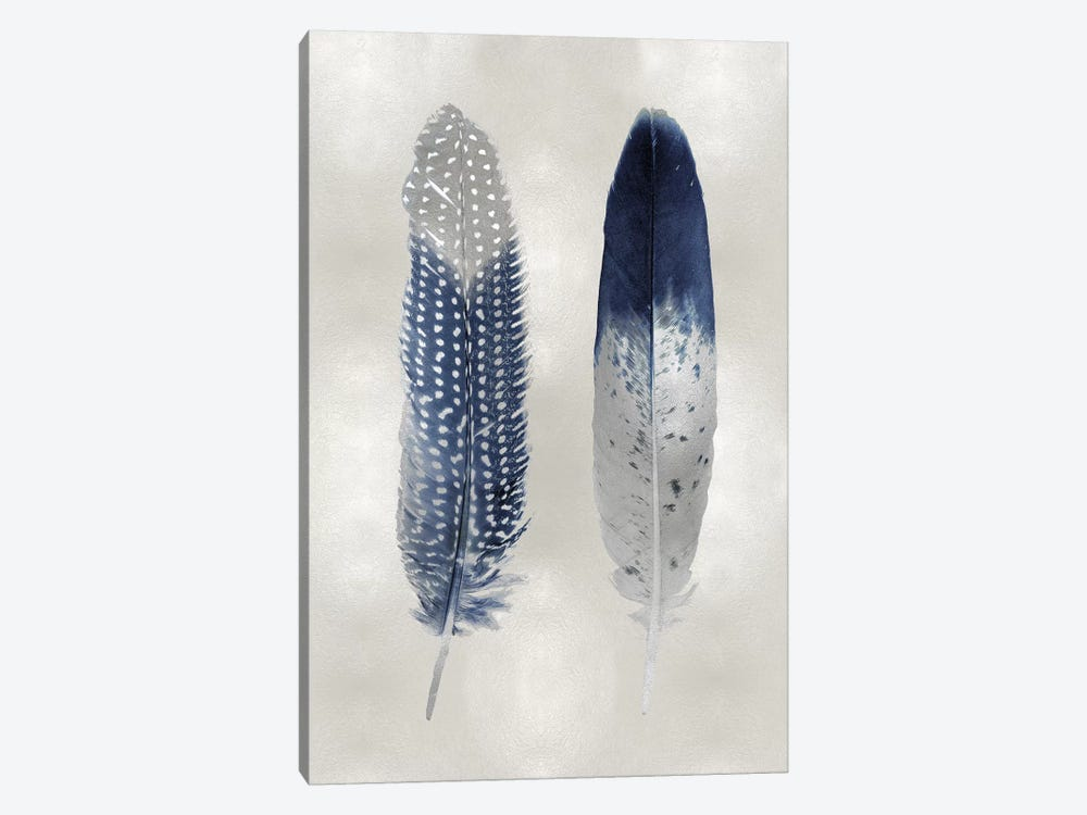 Blue Feather Pair On Silver by Julia Bosco 1-piece Art Print