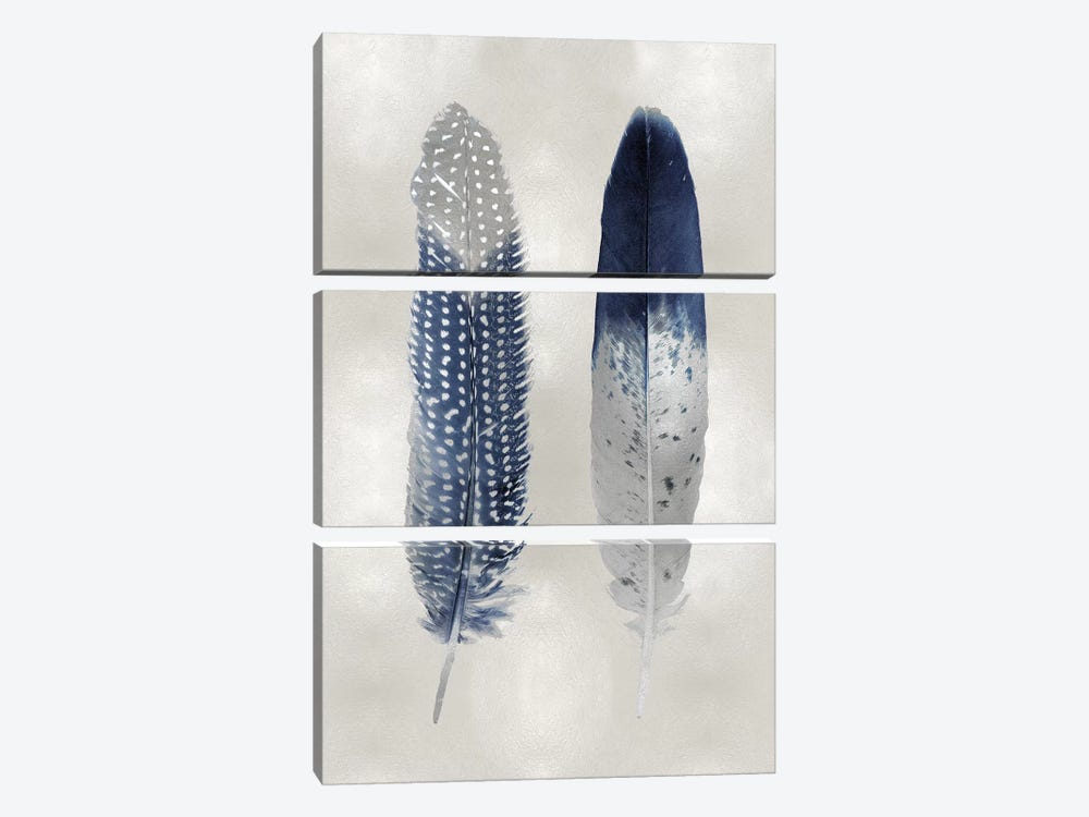 Blue Feather Pair On Silver by Julia Bosco 3-piece Art Print