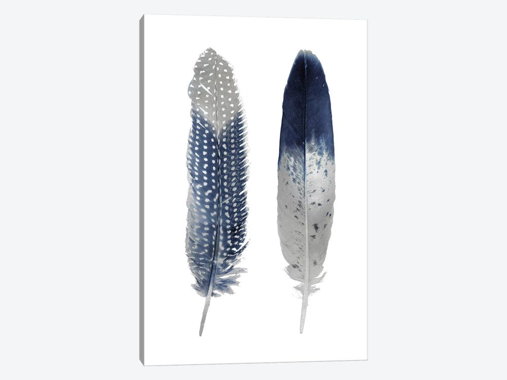 Blue Feather Pair On White 1-piece Canvas Wall Art