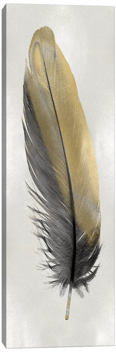 Gold Feather On Silver I Canvas Art Print