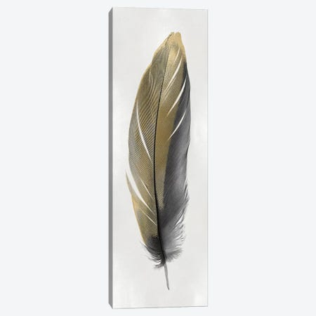 Gold Feather On Silver II Canvas Print #JUL58} by Julia Bosco Canvas Artwork