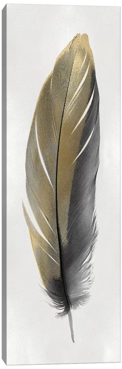 Gold Feather On Silver II Canvas Art Print