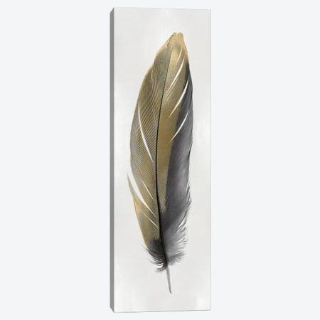 Gold Feather On Silver II Canvas Print #JUL58} by Julia Bosco Canvas Artwork