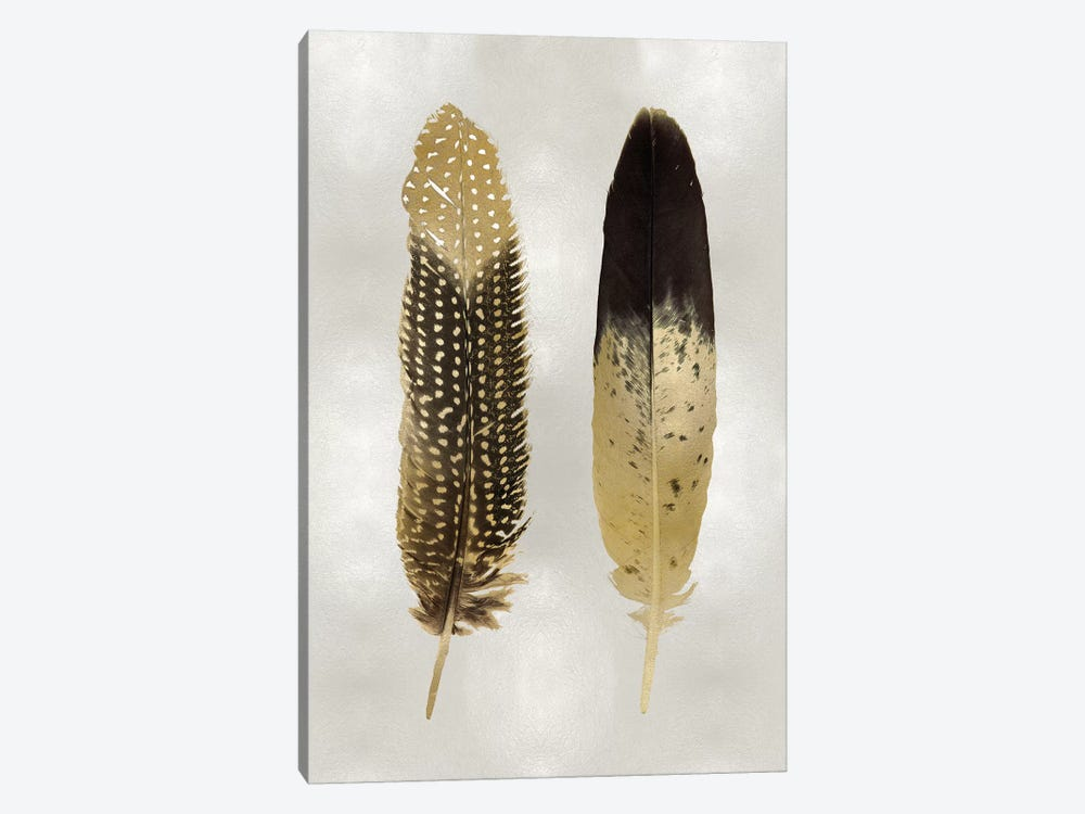 Gold Feather Pair On Silver by Julia Bosco 1-piece Canvas Print