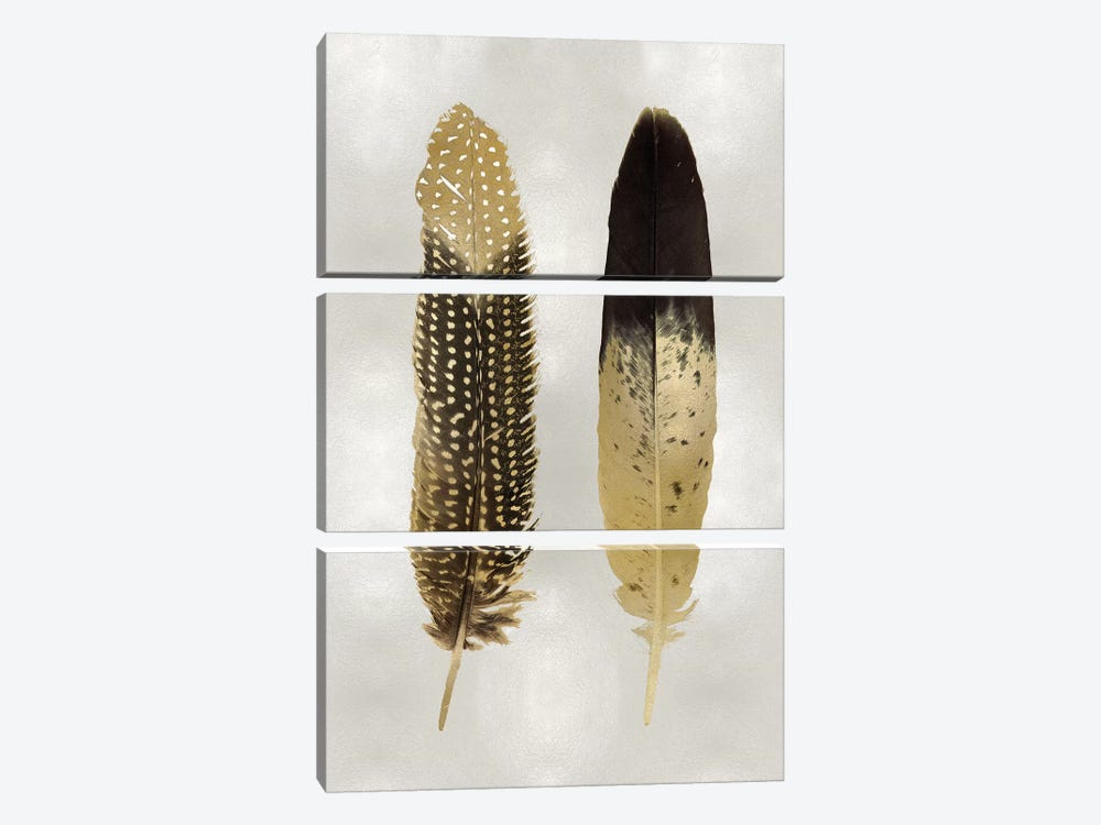 Gold Feather Pair On Silver by Julia Bosco 3-piece Art Print