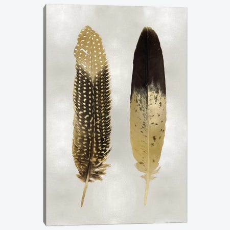 Gold Feather Pair On Silver Canvas Print #JUL59} by Julia Bosco Canvas Wall Art