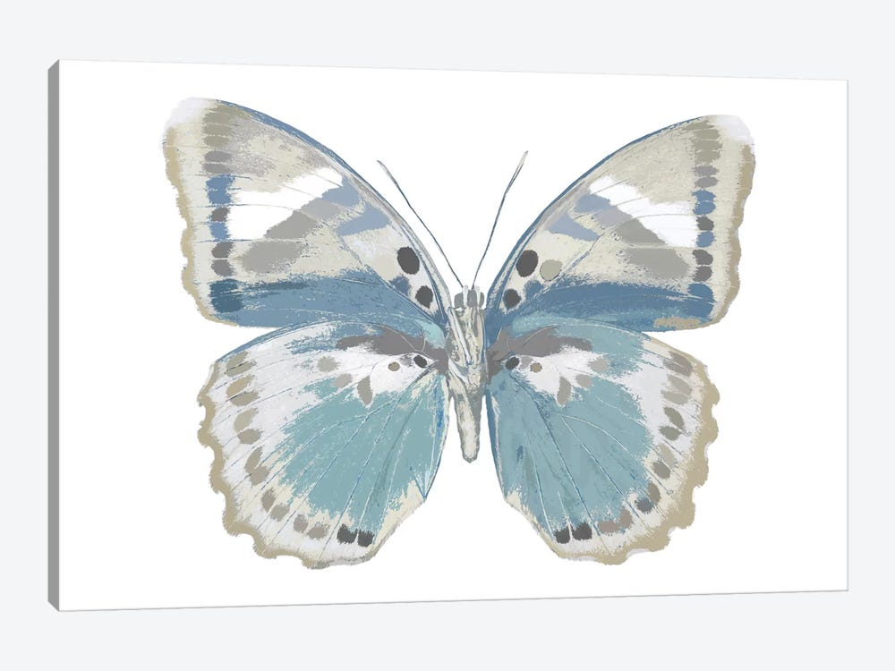 Butterfly In Green And Indigo by Julia Bosco 1-piece Canvas Art Print