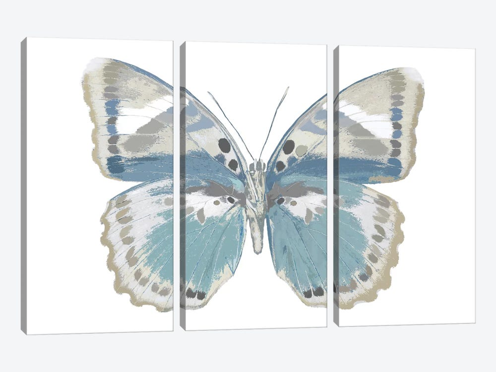 Butterfly In Green And Indigo by Julia Bosco 3-piece Canvas Print